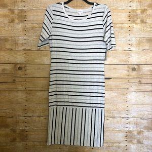 LuLaRoe NWT Gray & Black Striped Julia Dress